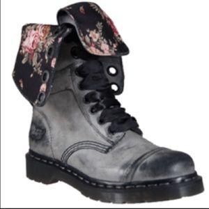 Shoes - Doc Marten Aimilie Dark Grey Boots w/ Floral